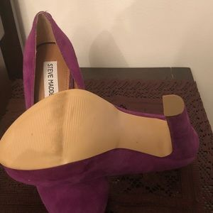 Purple Suede Platform Thick Heel Pumps